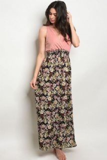PINK CROSS OVER CHEST FLORAL MAXI DRESS SIZES UK 8, 10, 12, 14